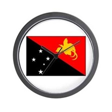 Papua New Guinean National Fl Wall Clock