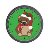 Santa Teddy Bear Christmas Wall Clock