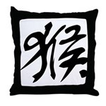 Chinese Character for Monkey Throw Pillow