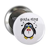 "Choir Sing Penguin Music 2.25"" Button"