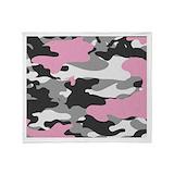 Pink camo Fleece Blankets