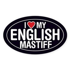 I Love My English Mastiff Oval Sticker/Decal