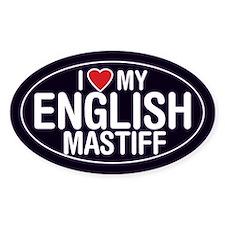I Love My English Mastiff Oval Sticker/Decal