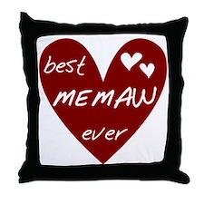 Heart Best Memaw Ever Throw Pillow
