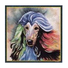 Afghan Hound Dog Storm Tile Coaster