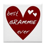 Heart Best Grammie Ever Tile Coaster