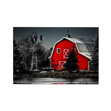 VIBRANT RED BARN Rectangle Magnet (100 pack)