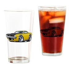 1970 AAR Cuda Yellow Car Drinking Glass