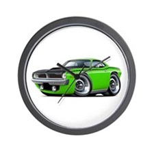 1970 AAR Cuda Lime Car Wall Clock
