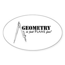 Plane Fun Geometry Oval Decal