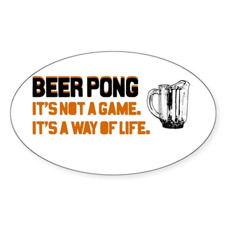Beer Pong Oval Sticker