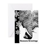 African Elephants Snowflake Christmas Card