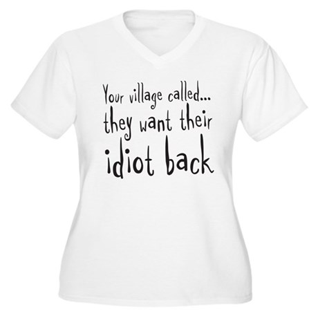 village idiot Women's Plus Size V-Neck T-Shirt