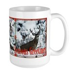 Buck deer in snow Large Mug