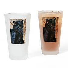 Black Leopard Portrait Drinking Glass