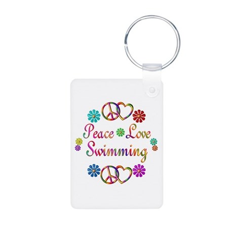 Peace Love Swimming Aluminum Photo Keychain