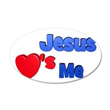 Jesus Loves Me 38.5 x 24.5 Oval Wall Peel