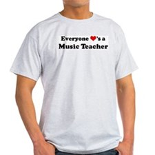 Loves a Music Teacher Ash Grey T-Shirt