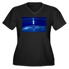 Drop of Water Women's Plus Size V-Neck Dark T-Shir