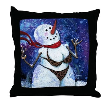 Naughty Snow Chic Throw Pillow