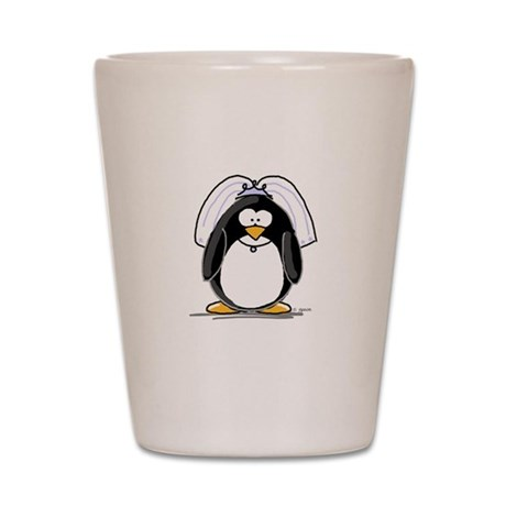 Bride penguin Shot Glass