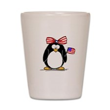 Patriotic Girl penguin Shot Glass