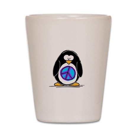 Peace penguin Shot Glass