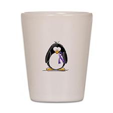 Purple Ribbon Penguin Shot Glass