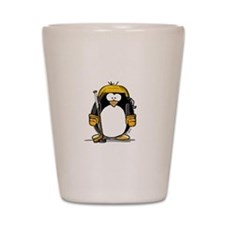 Gold Hockey Penguin Shot Glass