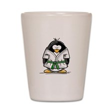Martial Arts green belt pengu Shot Glass