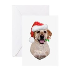 Yellow Lab Santa (b) Greeting Card