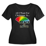 Christmas Peace Love Women's Plus Size Scoop Neck
