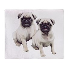 Pugs sitting Throw Blanket
