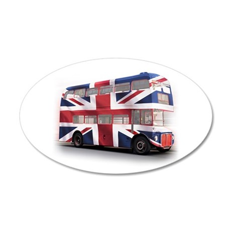 London Bus with Union Jack an 22x14 Oval Wall Peel