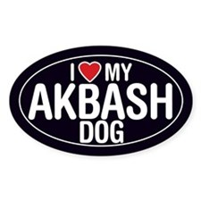 I Love My Akbash Dog Oval Sticker/Decal