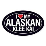 I Love My Alaskan Klee Kai Oval Sticker/Decal