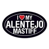 I Love My Alentejo Mastiff Oval Sticker/Decal