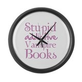 Stupid addictive vampire books Large Wall Clock