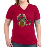 Peace, Love & Football Women's Black V-Neck