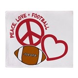 Peace, Love & Football Throw Blanket