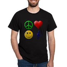 Peace, Love, Happiness and Mu T-Shirt