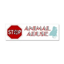Stop Animal Abuse 2 Car Magnet 10 x 3
