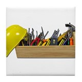 Hardhat Long Wooden Toolbox Tile Coaster