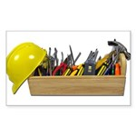 Hardhat Long Wooden Toolbox Sticker (Rectangle 50