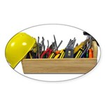 Hardhat Long Wooden Toolbox Sticker (Oval)
