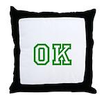 green OK Throw Pillow