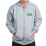 green OK Zip Hoodie