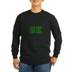 green OK Long Sleeve Dark T-Shirt