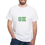 green OK White T-Shirt