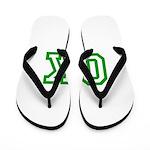 green OK Flip Flops